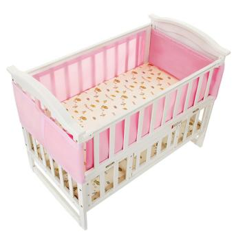 Breathable Mesh Crib Bumpers Baby Bedding Crib Liner Baby Cot SetsBed Around Protector (Pink) - intl