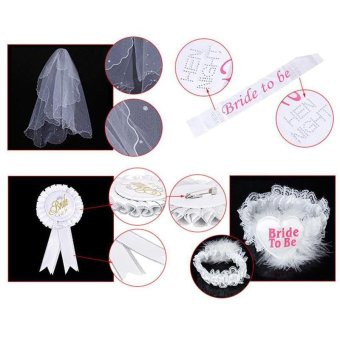 Bride To Be White Rosette Badge Sash Lace Garter Veil Set Hen NightParty Do - intl Price Philippines