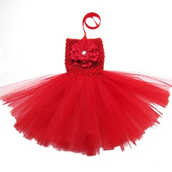 Buenos Ninos Baby Girls Party TUTU Dress Crochet Tube Top Baby Pettiskirts Red