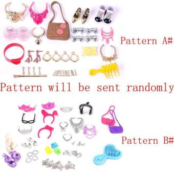 BUYINCOINS Set of Fashion Jewelry Necklace Earring Bowknot CrownAccessory For Barbie Dolls A# B# Pattern Randomly - 3
