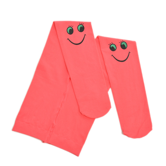 Buytra Autumn Kids Tights Velvet Smiley Pattern Watermelonred