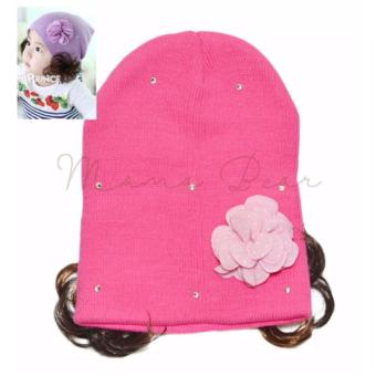 Candy Colored Soft Baby Flower Bonnet with Synthetic Hair CuteKnitted Winter Beanie with Curly Hair for Baby Girls Kids