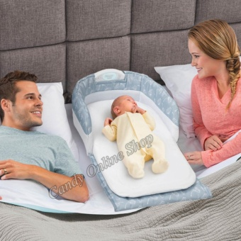 Candy Online With Light Music Portable Fold Baby Separated Bed#66501
