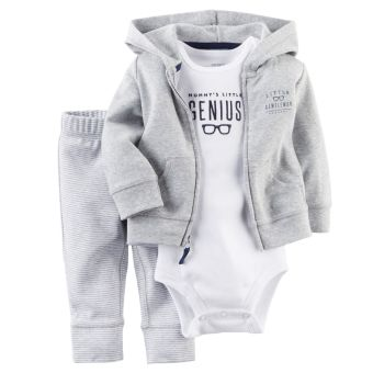 Carters Newborn Cardigan Pants Set Baby Boy Outfit Clothes Grey -Intl