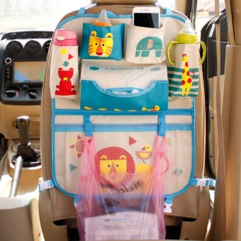 Cartoon Auto Car Back Seat Protector Kicking Mat Seat Cover StorageBag Organizer for Baby Diaper Storage Holder Mummy Bag Auto CarAccessories - intl