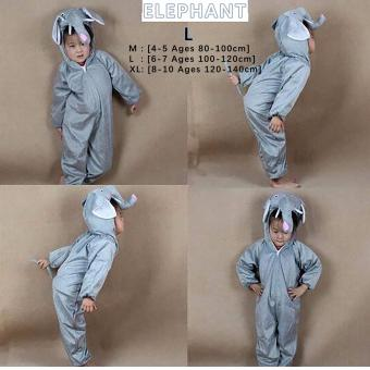 Cartoon Children Kids Animal Costume Cosplay Clothing Dinosaur Tiger Elephant Halloween Costumes Jumpsuit Boy Girl ( ELEPHANT , L : 6 - 7 Ages , 100 cm - 120 cm )