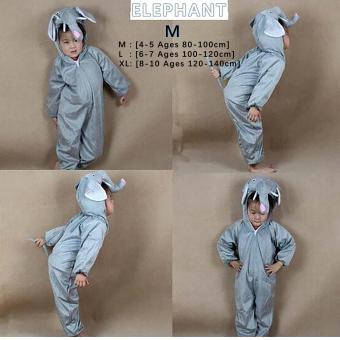 Cartoon Children Kids Animal Costume Cosplay Clothing Dinosaur Tiger Elephant Halloween Costumes Jumpsuit Boy Girl ( ELEPHANT , M : 4 - 5 Ages , 80 cm - 100 cm )
