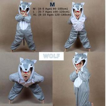 Cartoon Children Kids Animal Costume Cosplay Clothing Dinosaur Tiger Elephant Halloween Costumes Jumpsuit Boy Girl ( WOLF M : 4 - 5 Ages , 80 cm - 100 cm )