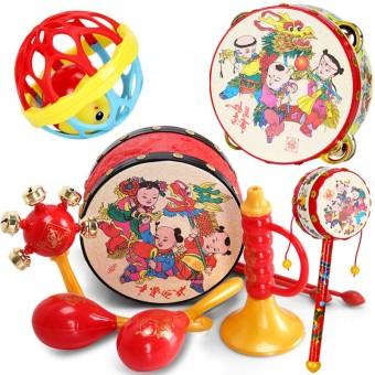 Cartoon hand early childhood educational rattles wavy drum