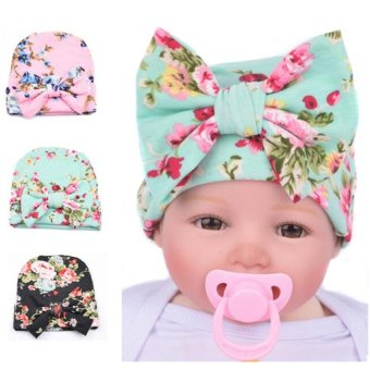 Cartoon Infant Cotton Baby Hat Big Bow Cap (Cyan)