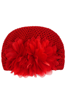 Child Girl Baby Crochet Knitted Wool Hat Flower Baby Winter Knit Hat Red