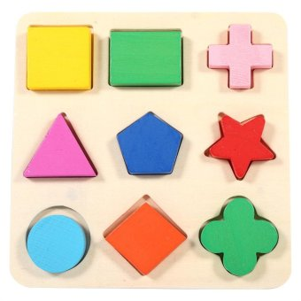 Children Wooden Geometry ShapeStacking Building Block Early Learning Toy - intl