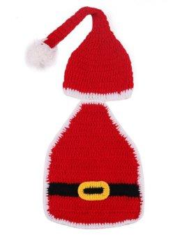 Christmas Costume Hat&Diaper/Pants Set Newborn Baby Photo Props Toddler Santa Photography Props 1set - Intl