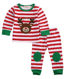 Christmas Toddler Kids Baby Boy Striped Pajamas Set - intl