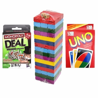 Color Jenga , Uno and Monopoly Deal Playing Cards Stacko Bundle