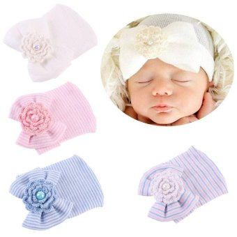 Cotton Baby Newborn Infant Toddler Girls Bow Flower Warm HospitalCap Beanie Hat(Blue) - intl