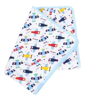 Cotton Baby Urine Pad Waterproof Washable Changing Mat ReusableDiaper (#2 Blue Airplane) - intl