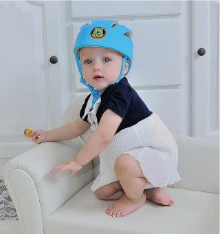 Cotton Infant Safety Helmet Baby Kids Head Protection Hat forWalking Crawling (Blue) - intl