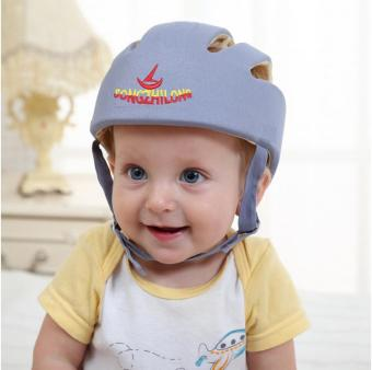 Cotton Infant Toddler Safety Helmet Baby for Walking Crawling(Grey) - intl