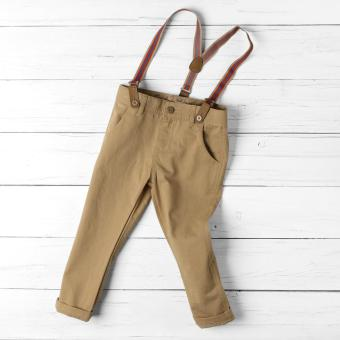Crib Couture Baby Boys Suspender Pants (Brown)
