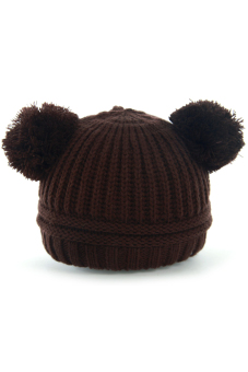 Crochet Knitted Cap Winter Warm Hat Cap Bobble Hat For 1 to 3 Years Old Baby Girls Boys Kids Coffee