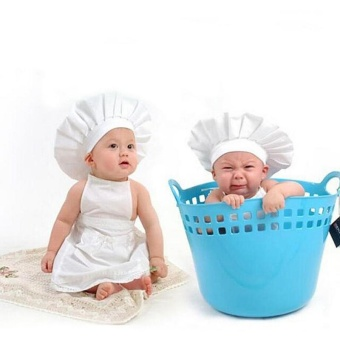 Cute Baby Cook Costume Photo Photography Prop Newborn Infant HatApron Chef Clothes DIY Funning Booth Props for Kids - intl - 2