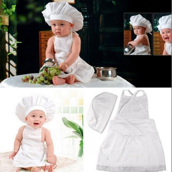Cute Baby Cook Costume Photo Photography Prop Newborn Infant HatApron Chef Clothes DIY Funning Booth Props for Kids - intl - 3