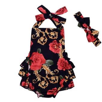 Cute Baby Girls Floral Ruffle Romper Jumpsuit Dress HeadbandOutfits Clothes Red - intl