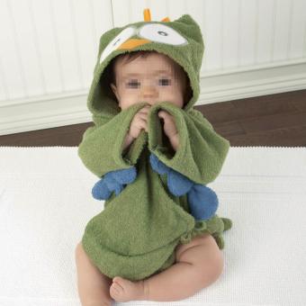 Cute Baby Infant Kid Animal Owl Green Hooded Bath Beach Towel Bathrobe
