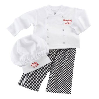 Cute Baby Infant Toddler Chef Costume 3 PCs Set Hat+ White Shirt + Plaid Pants for Boys Girls Suits - 2