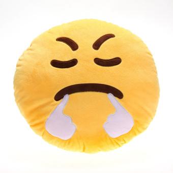 Cute Emoticon Yellow Round Cushion Pillow Stuffed Plush Toy sigh (Intl)