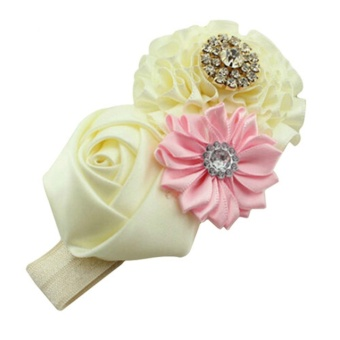 Cute Kids Baby Girls Rhinestone Headband Ribbon Rose Flower HairBand Headwear - intl - 2