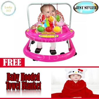 Cute Musical Baby Walker Pink with Baby Hooded Towel Red