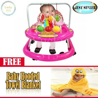 Cute Musical Baby Walker Pink with Baby Hooded Towel Yellow
