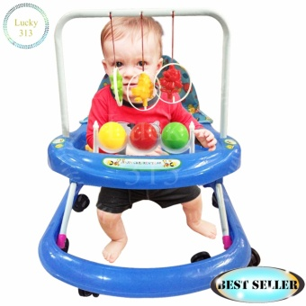 Cute Musical Baby Walker Soft Cushion Blue