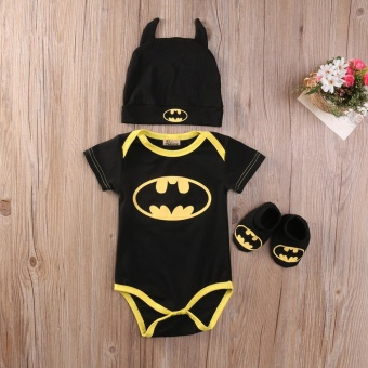 Cute Newborn Baby Boys Infant Rompers+Shoes+Hat 3Pcs Outfit ClothesSet Short Sleeve 0-24M (0-6 Months) - intl