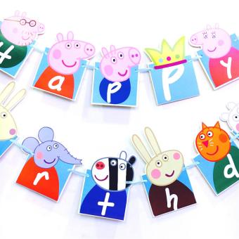 Cute Pig Theme 13 Happy Birthday Flags Birthday Party DecorationBuntings Banner for Kids 56g - 3