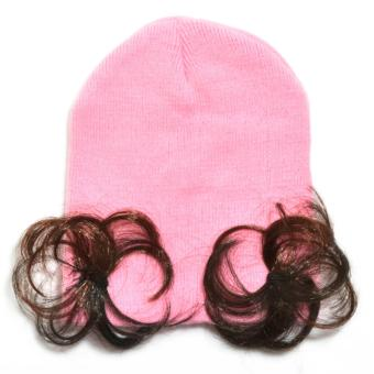 Cute Soft Baby Flower Bonnet with Synthetic Hair Baby Girl KidsWinter Beanie with Curly Hair - 3