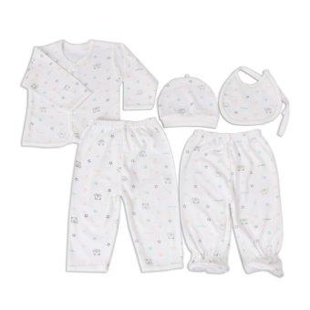 Cutie 5 Piece Newborn Clothing Set (green and white)