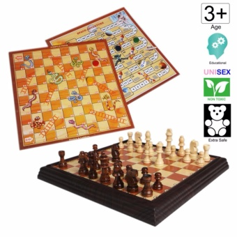 Cutie Chess Set with Classic Wooden Chess Pieces and FREE Snakesand Ladders and Space Adventure Game