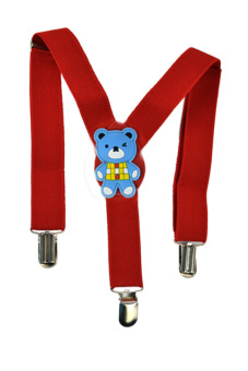 Cyber Kids Boys Girls Adjustable Y-Back Suspender Trousers (Red)
