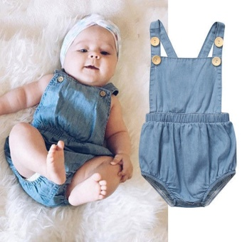 Denim Jumpsuits for Newborn Baby Girls Boys Short Sleeve Jean StyleOne Piece Rompers Baby Summer Clothes for 0-24 Monthes Olds - intl