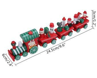 dewsty Christmas Decorations Train Set Train Set Figurine Toys Xmas Ornament Xmas Decor Gift,Red,24.5x6x3cm/9.6x2.4x1.2inch - picture 2