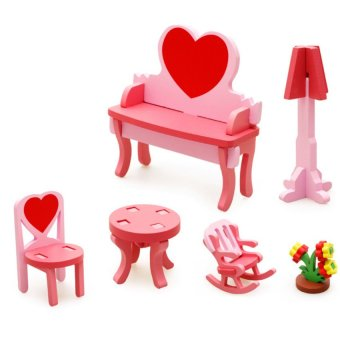 DHS Toy-070727 Wooden Blocks Dress Up with Desk and Chairs 6-peice Set - Intl