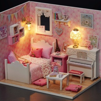 DIY Dollhouse Wood Doll House Miniature Furniture Kits With LED Piano Toy
