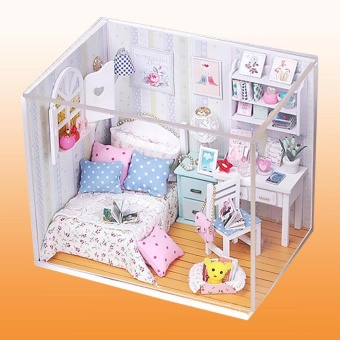 DIY Wood Dollhouse Miniature with LED + Furniture + Cover Doll House Room Model - intl - 3