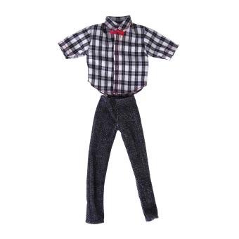 Doll Clothes Casual Clothing Fit Ken – Check T-Shirt And Dark Grey Pants