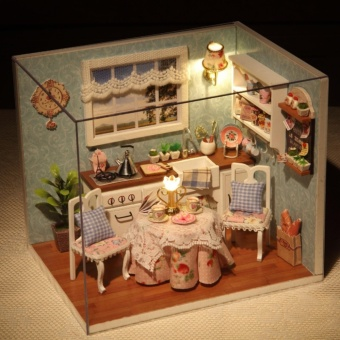 Dollhouse Miniature DIY Kit Set with Cover and LED Light Wood Toy Dolls Happy Kitchen - intl