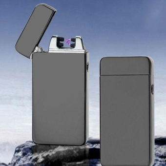 Dual Arc Metal Flameless Torch USB Rechargeable Windproof Lighter Gift - intl