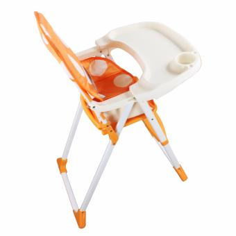 DuoMeite Foldable Polka Dots Baby Feeding High Chair (Orange) - 5